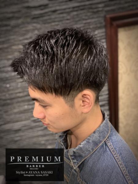 定番前髪上げツーブロック✖️記憶形状パーマ(アイパー)